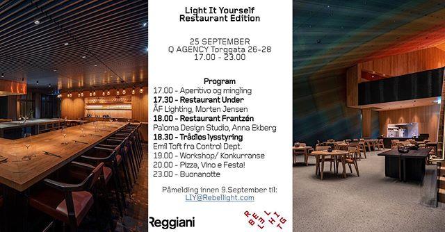 Vår lysvenn @rebellight inviterer til arrangement! Les mer på hjemmesiden vår. Link i bio 🎉💡🥂🍷🍽