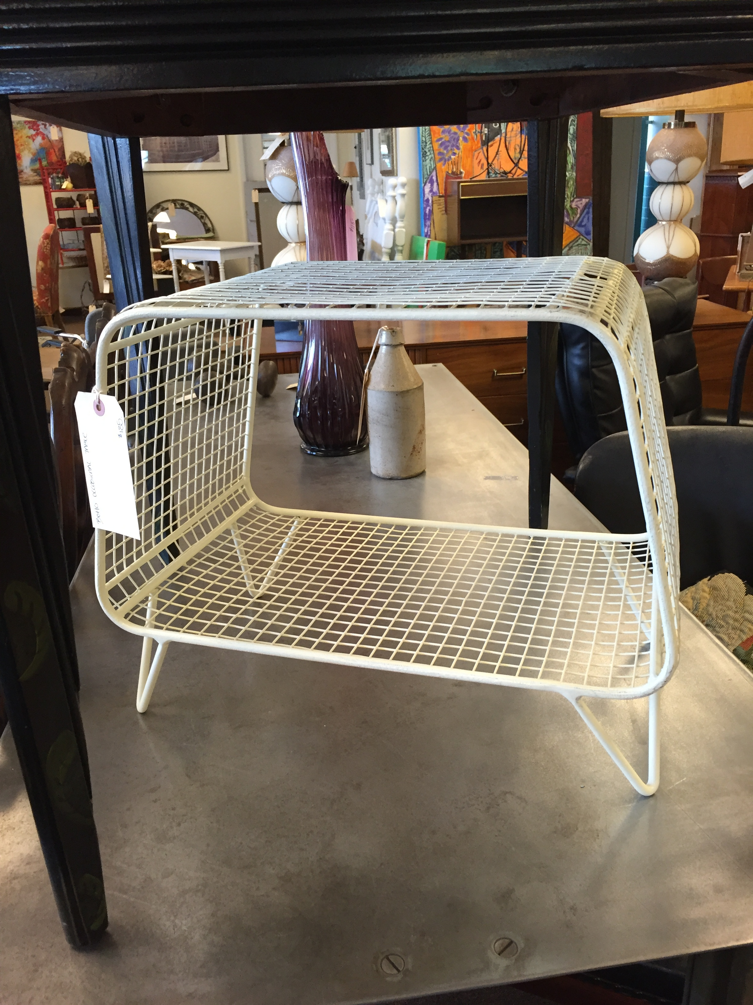 This wire magazine stand would look great in a mod living room.