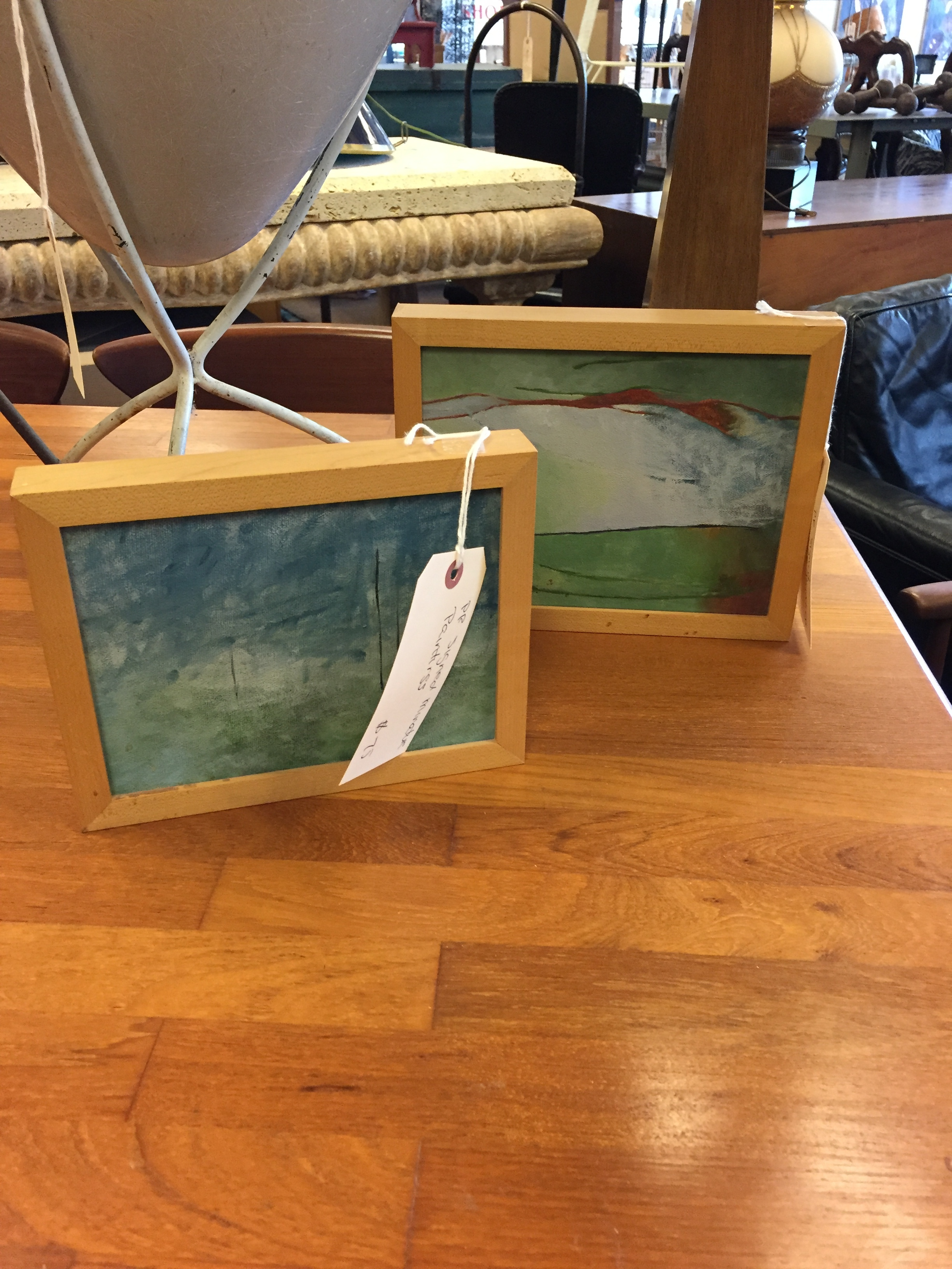 These mini paintings came from an estate sale. I bought them and plan on using them in the #oneroomchallenge I'm doing in my powder room.