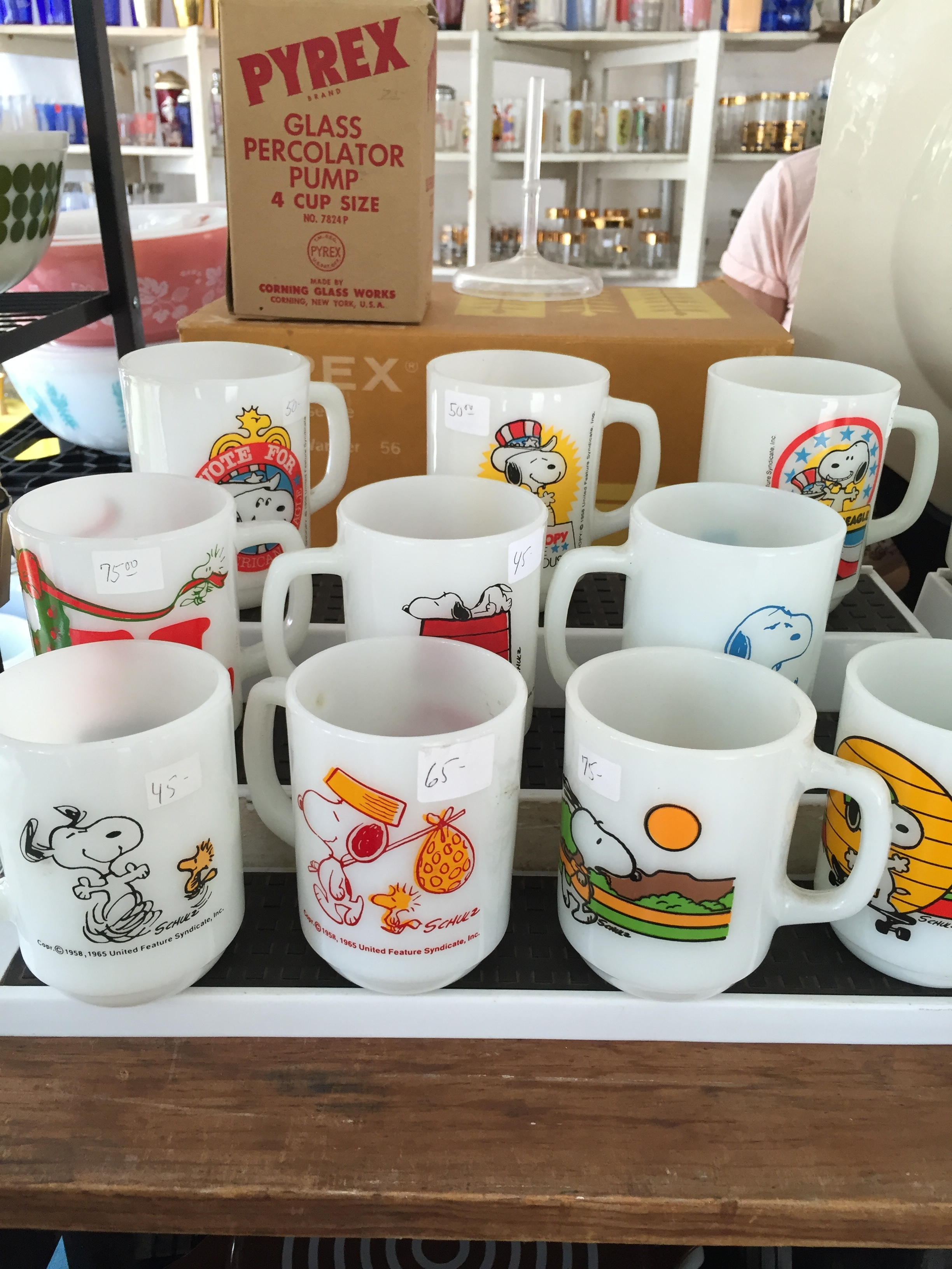 We had a bunch of these Snoopy mugs growing up. Who knew they would sell for $75 a piece?!