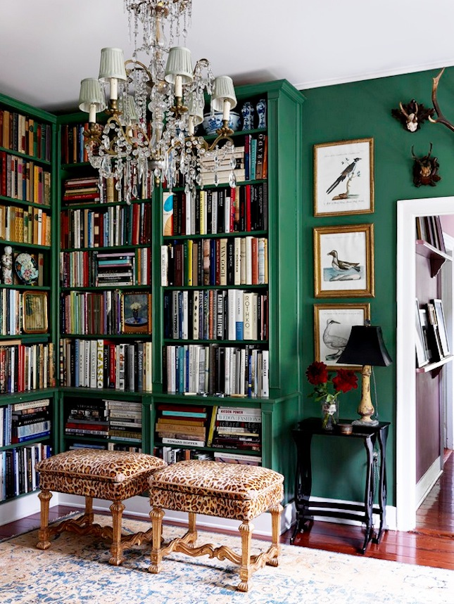 This is a whole lot of room (and maybe a tad too over the top for me), however,I really like the emerald green and leopard print combo.  Image via  Brit & Co.
