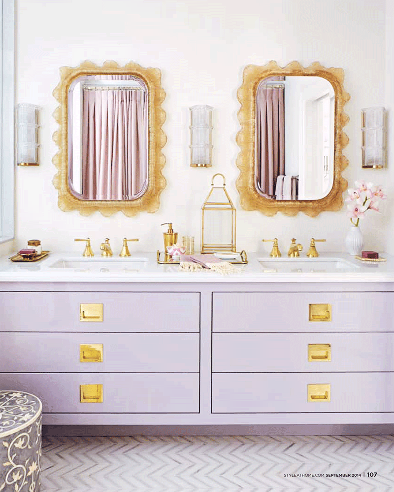 Another lavender bathroom. I could see this being used as a Jack & Jill bathroom between two guest rooms.   Image via  This is Glamorous  and  Style at Home
