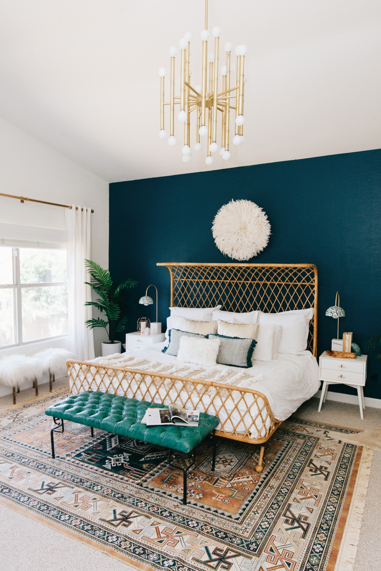 Here it's used on an accent wall in a bedroom. Without it, the room would feel much more muted (minus that bench at the end of the bed).  Not to mention I love this bed.  Image via  Ave Styles