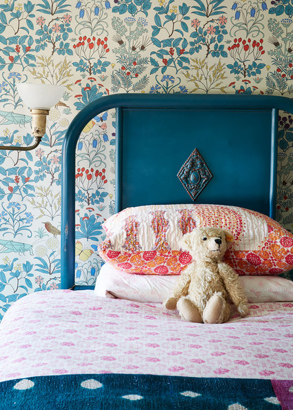 I adore this cute little teal bed in a girl's bedroom.   Image via  Lonny