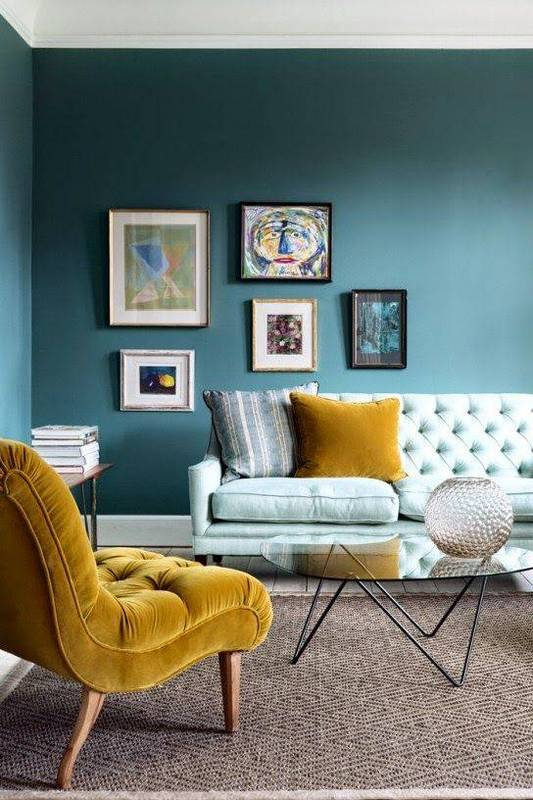 Finally here it is paired with a mint green and chartreuse.  This color combo is super cool!  Image via  Domino
