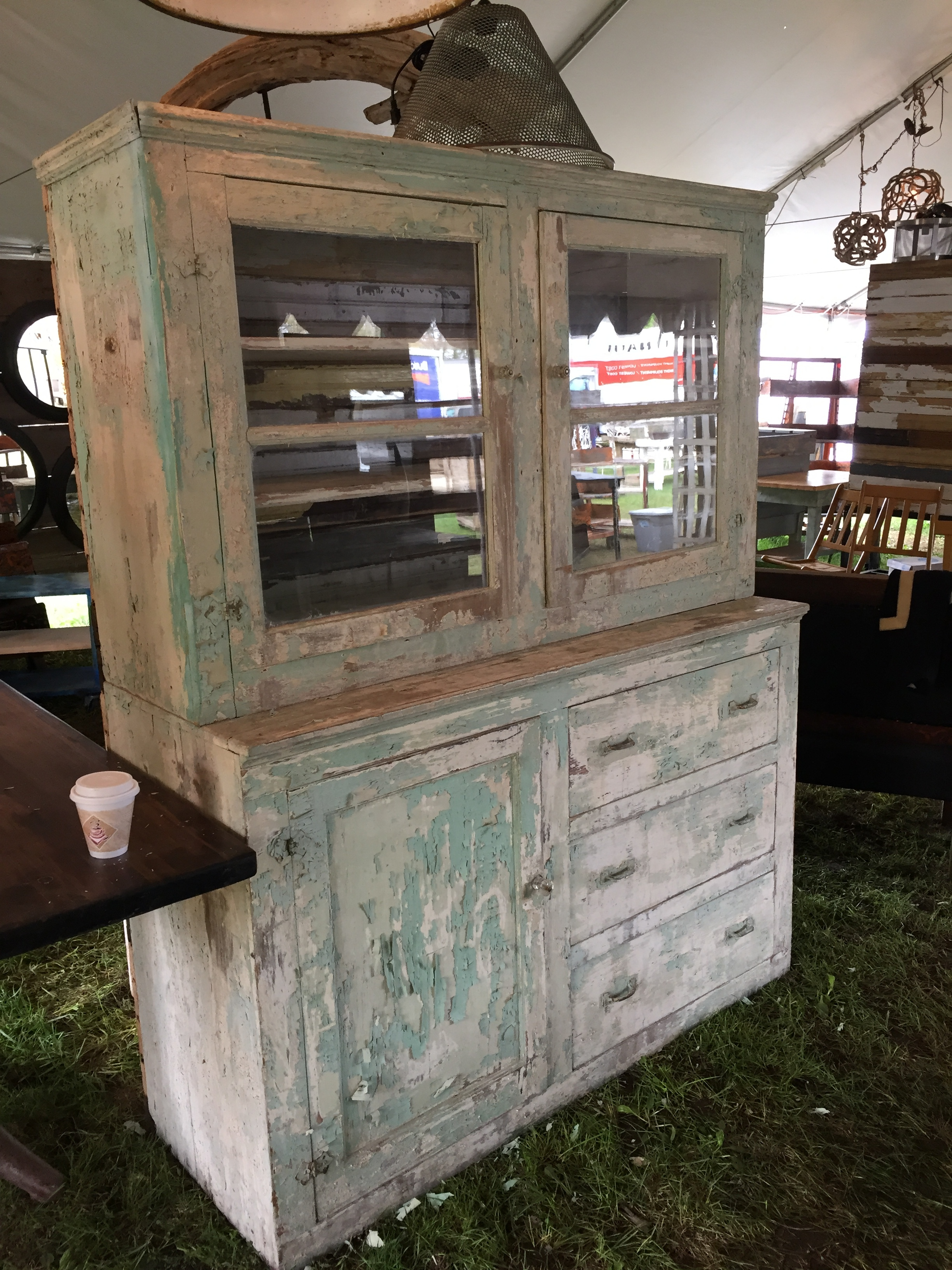 I was eyeing this old china cabinet for a client of mine, but the paint was really chipping and funky and I was worried about lead (she has two little kids)...so sadly this stayed behind.