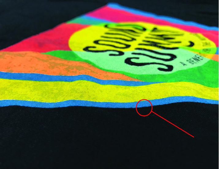 Water Based Discharge inks embedded into the garment fabric.