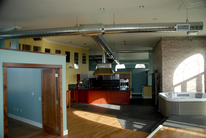 cowcreek loft apt Kitchen from Living Room Area.jpg