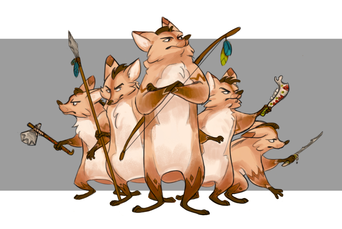 Early Fox brothers character design by Samantha Moore.