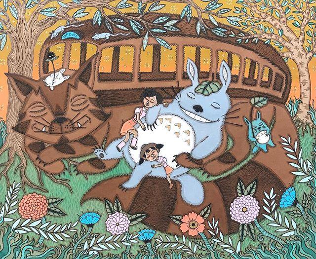 ✨Sleeping Not Dead✨is my contribution to the fantastic Spoke Art show in Hawaii. Thanks for having me be part of the fun! @le_ken_fraiche  @spoke_art @powwowworldwide #myneighborhayao #myneighbortotoro #studioghibli #hayaomiyazaki #pdxartist #pyrography #acrylicpainting