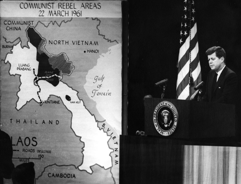 President John F. Kennedy speaks at news conference regarding the dire situation in Laos. Courtesy JFK Library.