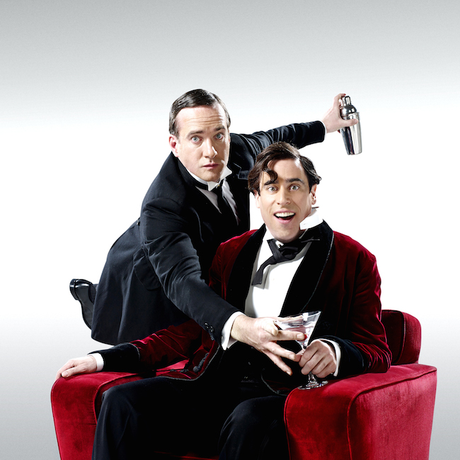 Matthew Macfadyen (Jeeves) and Stephen Mangan (Wooster) in Perfect Nonsense at the Duke of York's Theatre. Photo by Uli Weber.jpg