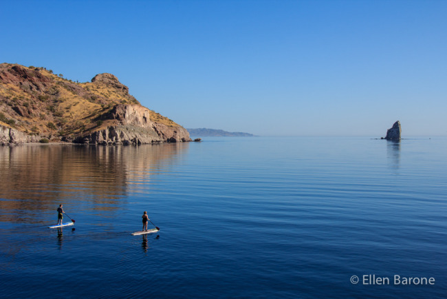 Stand up paddle boarding, Bahia Agua Verde, Sea of Cortés.