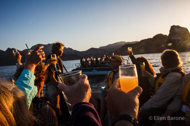 A sunset toast aboard the skiff, Sea of Cortés