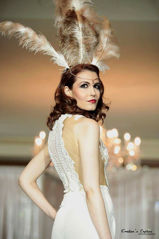 Modelling  the most beautiful and ornate white peal outfit for designer   Temraza at Paris Fashion Week in March 2015...