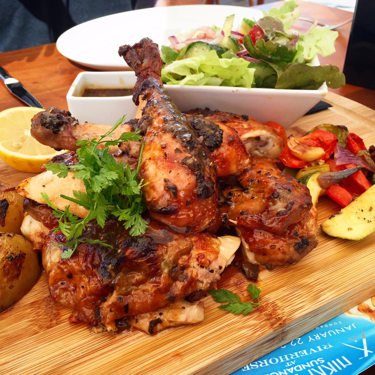 Chicken for days at Nikki Beach, St. Barth's