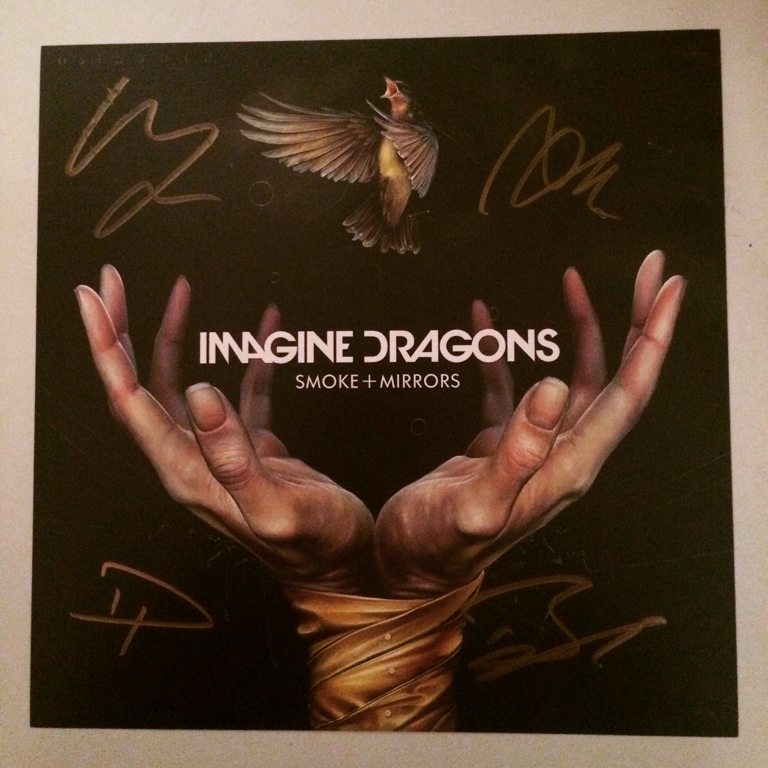 Imagine Dragons Smoke + Mirrors signed album cover