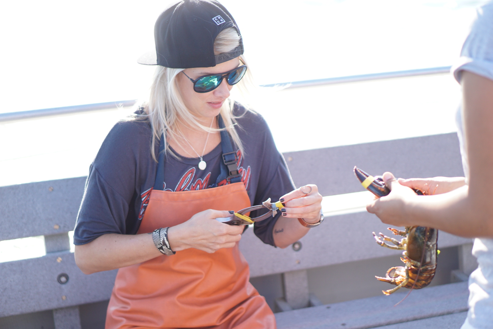 Me learning how to band a lobster