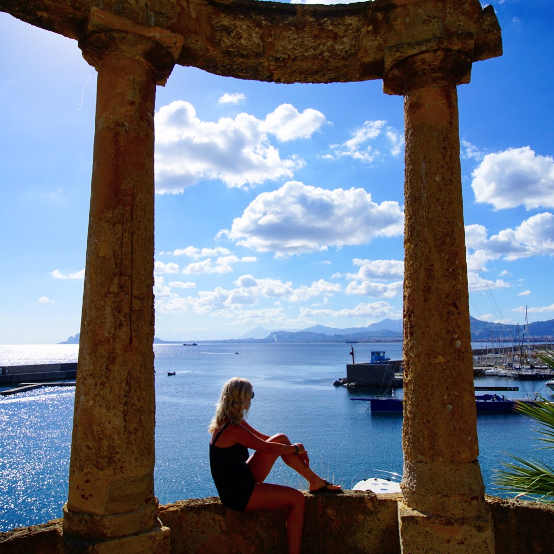 At hotel Villa Igea overlooking the Mediterranean