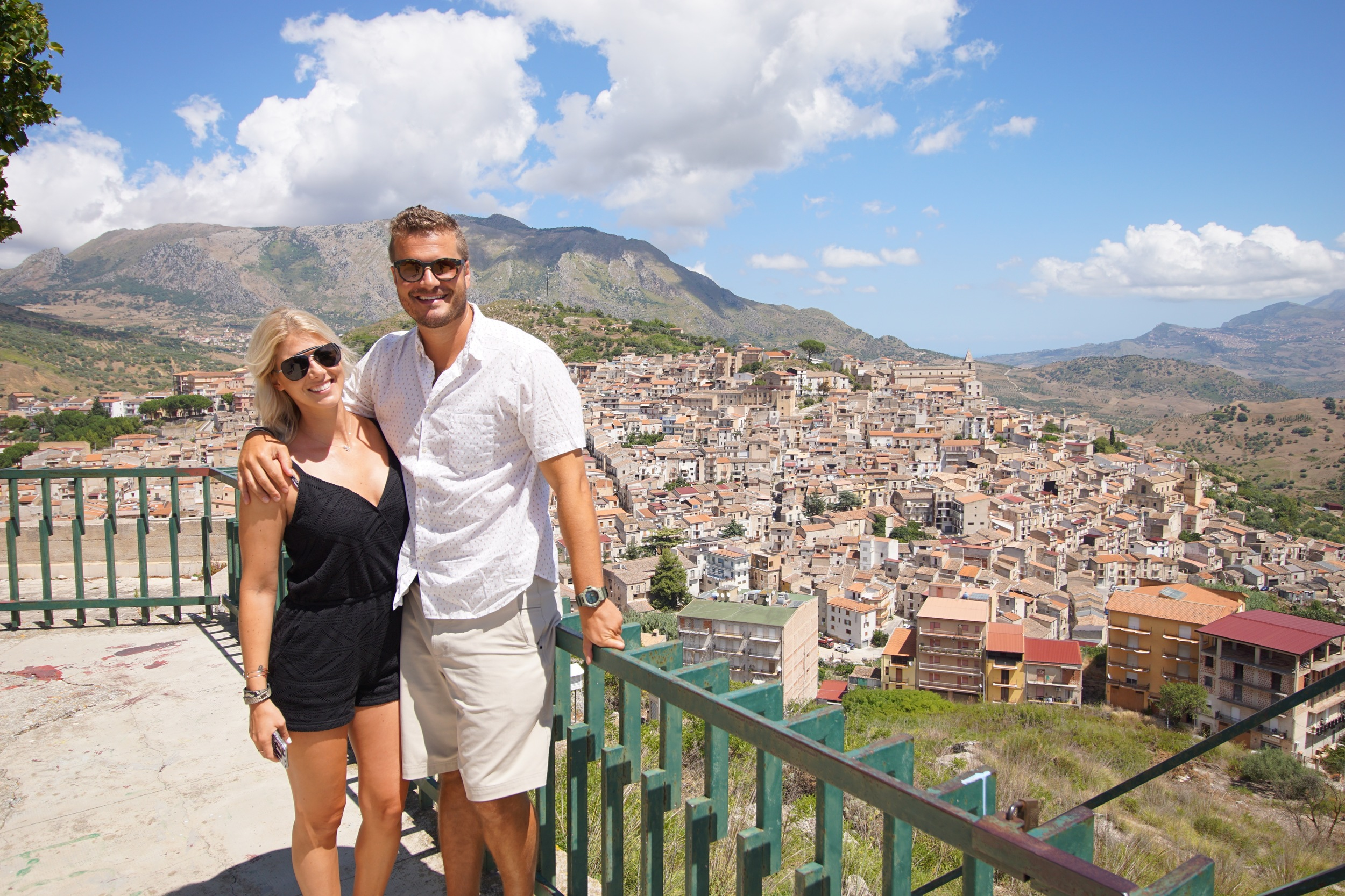 Jay and me overlooking Ciminna, Sicily
