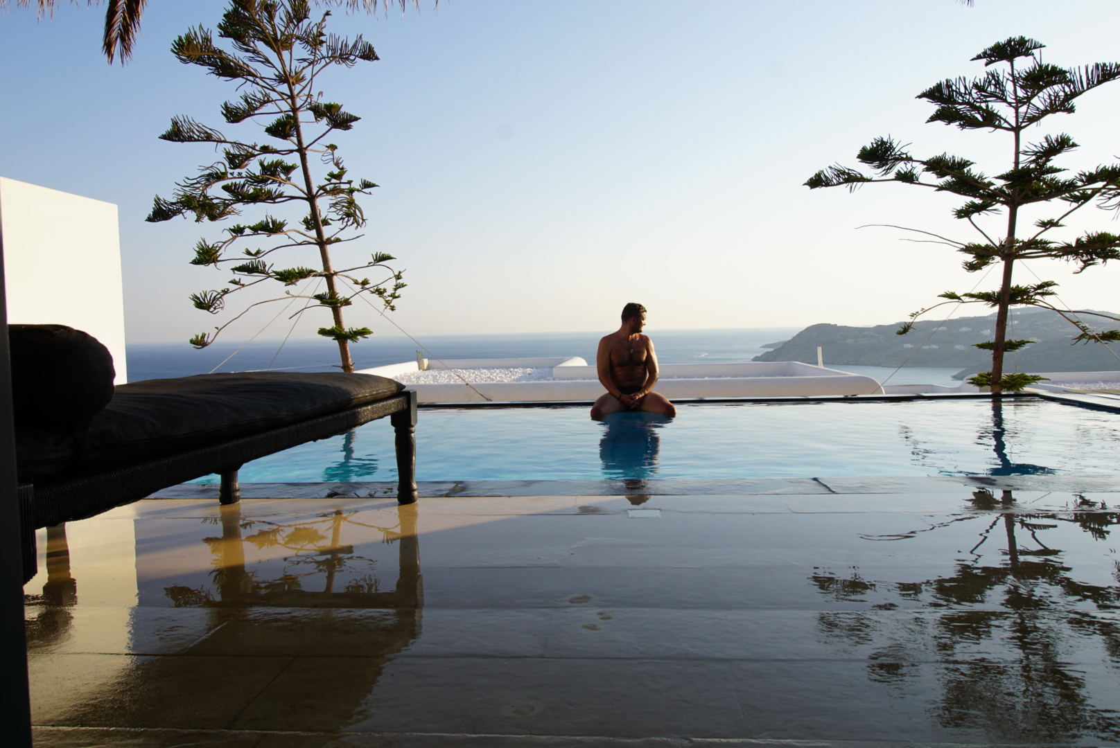 Jay enjoying our private pool at Utopia
