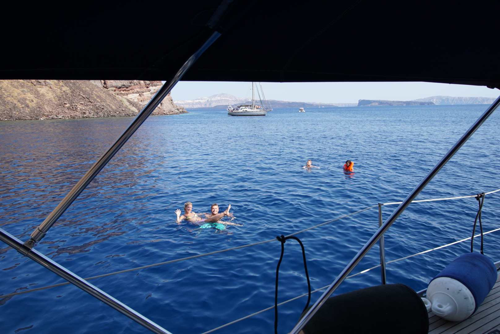 The water is so salty and buoyant off of Santorini