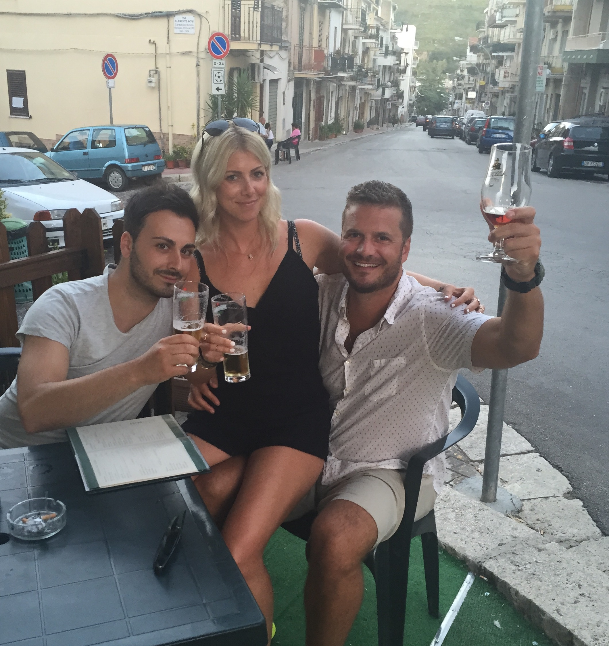 Enjoying a beer with my cousin, Marco and Jay in Ciminna