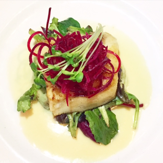 One of the best Sea Bass dishes I've ever had. Caramelized miso with basil mashed potatoes and ponzu beurre blanc.
