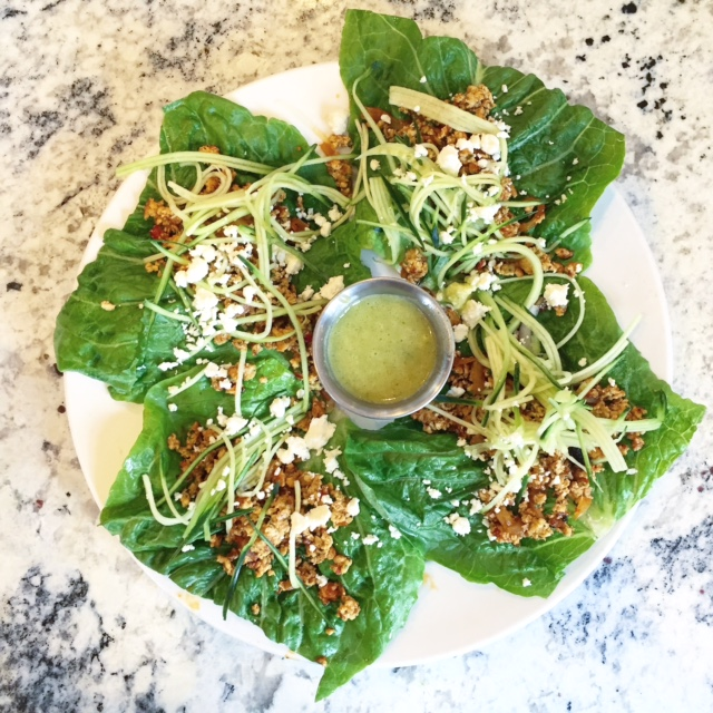 Green chicken lettuce wraps with cucumber and feta at Artemis Lakefront Cafe.