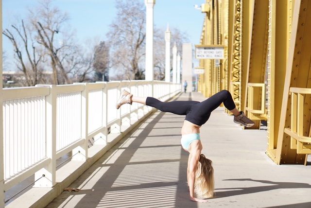 Tiffany, getting some yoga in on the Tower Bridge