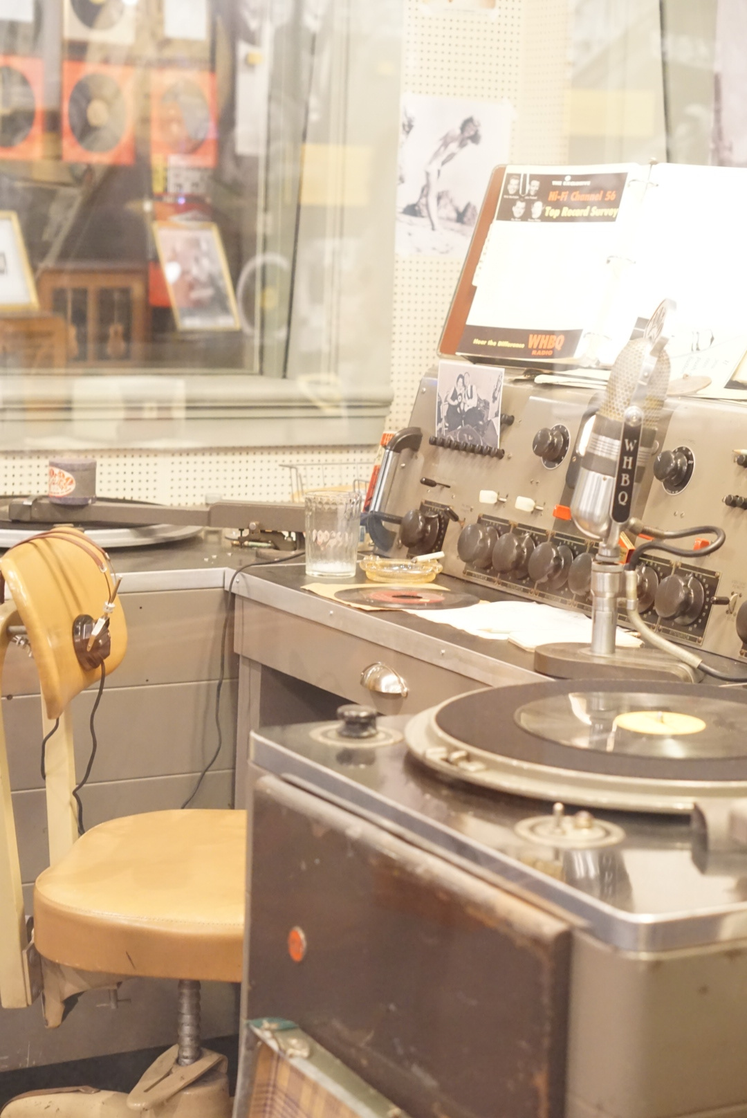 """This is the original broadcast booth where """"Daddy-O"""" Dewey Phillips hosted his groundbreaking radio show from 1953-1959. This is also where he played Elvis' """"That's Alright"""" for the very first time."""