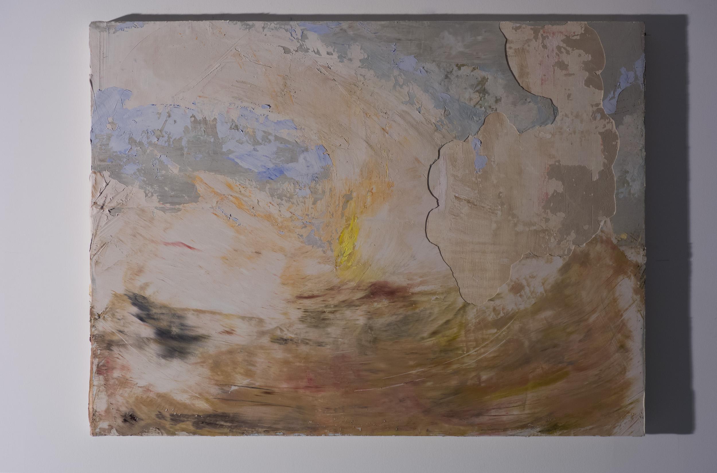 Shelley Vanderbyl - Signal Fire (Day) (Side Light) - 2016 - Fresco on Panel - 30x40.jpg