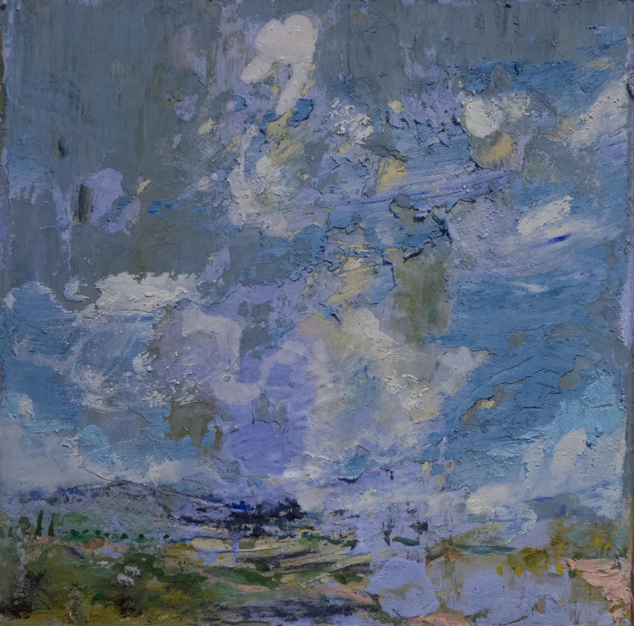 "LANDSCAPE, SOLD fresco on panel, 8""x8"", 2015"