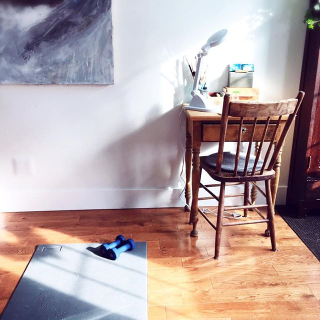 """Worked out in front of my home painting table, so I can plan what I'll work on during afternoon naps. Three days in a row and I am feeling so much better. 😊I have to remember to take of myself because it's winter, and I had a baby only four months ago! Sometimes you just have to stop and think, """"Have I felt better than this in the past?"""" So thankful for simple routines with YouTube and a mat. . . . #takingbackpostpartum #artistmother #goodmedicine #anxiety #peaceful #mentalhealth #medicine #empathy #artasmedicine #hope #howamifeeling #lovelyday #miniatureoilpaintings #artistmom #artastherapy #canadianartists #depression #lifestyle #blog #simplelife #pretty #thislovelyday #happy #goodmorning #artinhouse #frescopaintings #liveauthentic #artisthome #artistathome #artisthomes"""