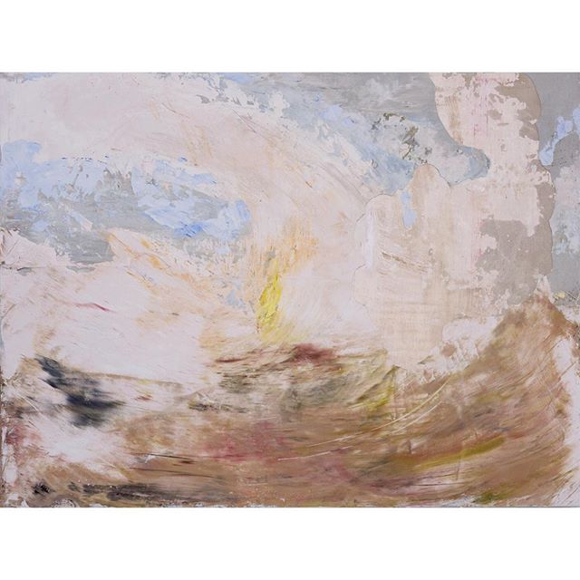 "Signal Fire (Day), Fresco on Wooden Panel, 2016, 30""x 40"". In my paintings, signal fires represent the concept of reaching out to others and the desire to be ""found,"" or to let oneself be seen. . . . #goodmedicine #hopeartist #anxiety #depression #perfectlyimperfect #deterioration #howthelightgetsin #mentalhealth #texture #unconventionalart #abstractpainting #artasmedicine #canadianartists #abstractartwork #howamifeeling #inspirationalart #ptsdrecovery #artastherapy #paintingsforptsd #medicine #empathy #arttherapy #socialanxiety #disintegration #searchandrescue #reachout #hope #rescue #rcaf #jmwturner"