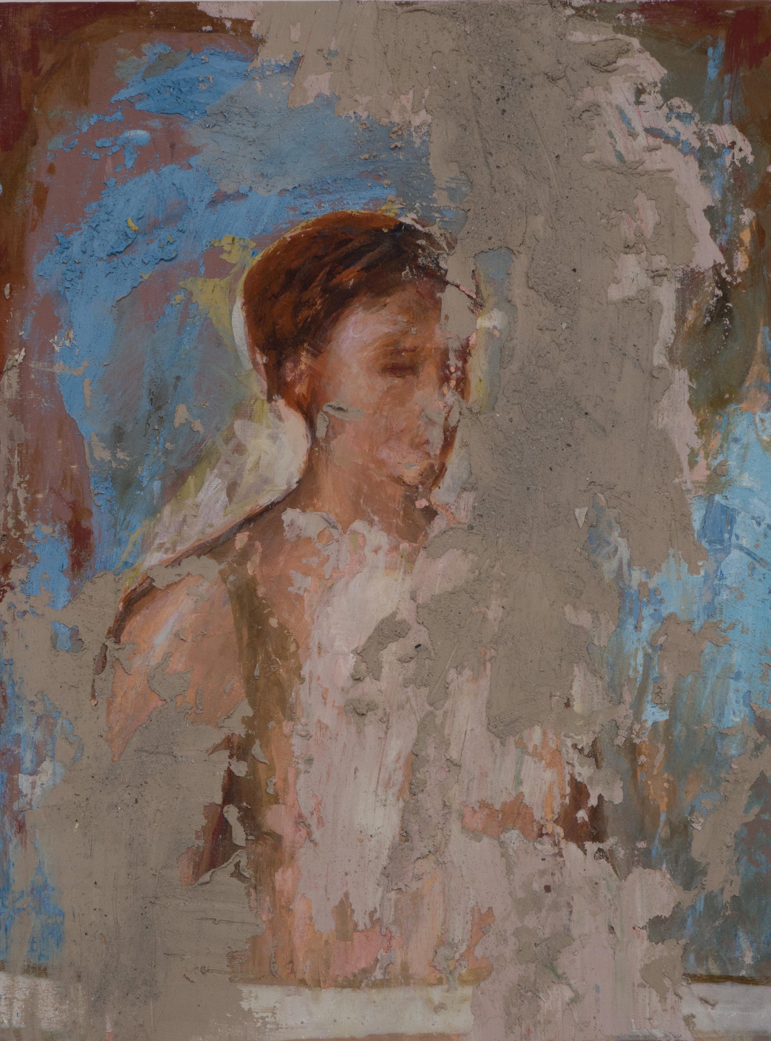 Shelley Vanderbyl - Untitled (Woman) (Full Crop) - 2016 - Fresco on Panel - 8x10.jpg