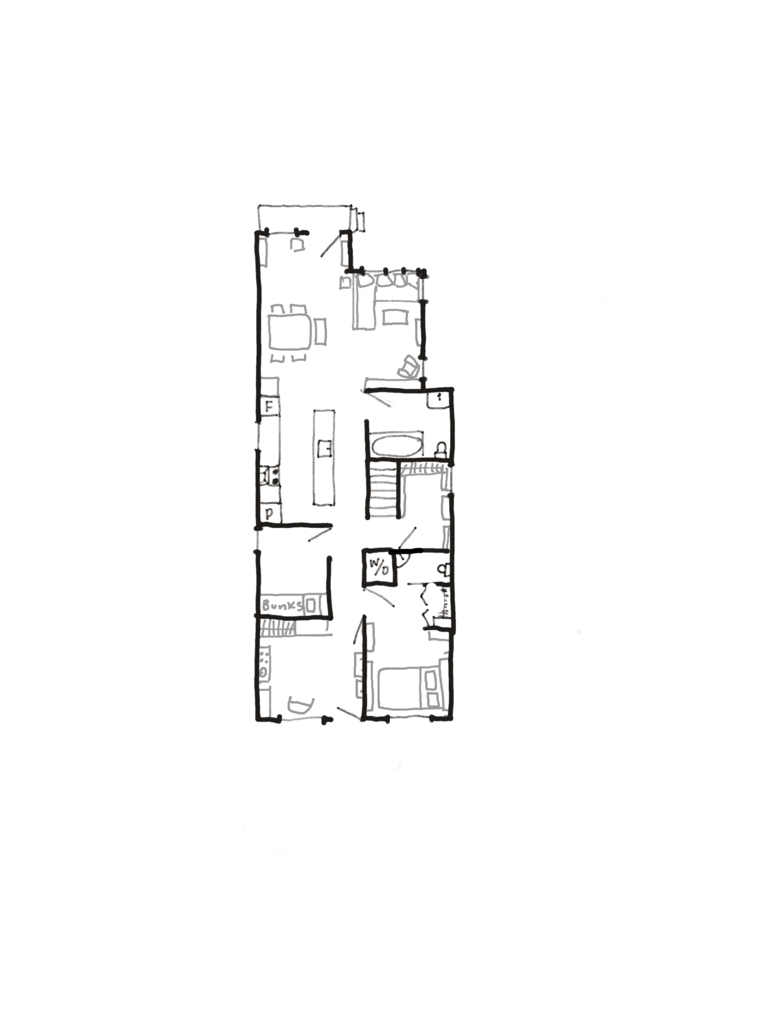Our floorplan. The top faces the street. (Not labelled but in the middle of the house is a storage room, totally necessary due to having just one closet in our Master Bedroom. Lily's crib is usually in the play room, with the back entrance.)