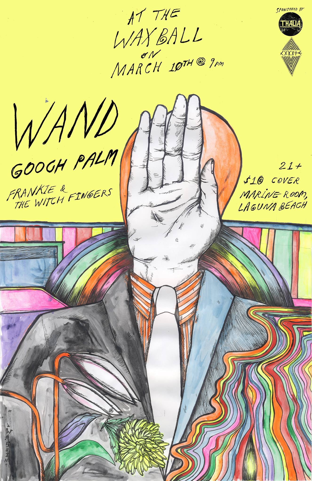 """Featuring live performances by:    WAND [LA]   GOOCH PALMS [AUS]   FRANKIE & THE WITCH FINGERS [INDIANA]    WAND - Hailing from Los Angeles, CA. WAND is getting ready for their album debut 'Golem' to hit shelves mid-March 2015. """"The Los Angeles-based quartet, which was signed by Ty Segall himself to his Drag City imprint, GOD? Records, and will appeal to fans of Tame Impala. Admiring the """"psychedelic stomp"""" of recent single """"Broken Candle"""", music blog Austin Town Hall goes on the describe the album like this: """"Ganglion Reef has a great deal of fuzzy elements to it but they walk this fine line between being noisy and radio-friendly."""""""" - HypeM    GOOCH PALMS - For al  most 4 years Australia's favorite punk sweethearts have been melting faces with their high energy, take no prisoners, balls out, drool-inducing live shows. They make a lot of noise for a minimal two piece but what they lack in instrumentation they make up for in stage presence and songs that you'll be humming, whether you want to or not, for days, months or maybe even years after the show is over. They've shared the stage with the likes of Jon Spencer Blues Explosion, Thee Oh Sees, 5,6,7,8's, Nobunny, Hunx & His Punx, Shannon & The Clams, The King Khan & BBQ Show, Tyvek and more.  FRANKIE & THE WITCH FINGERS - Straight outta Bloomington, Indiana [and now Los Angeles], Frankie & The Witch Fingers give a nod to bands like The Sonics, The Seeds, The Nerves and 13th Floor Elevators. Dylan channels the inner thoughts and dreams of his psychedelic feline companion, Frankie. They share a singluar MIND and channel aural colors and shapes thru the ELECTRIC SÉANCE. The """"fingers"""" are what you would expect them to be - pieces of the GREATER BEING, bent with occult knowledge. Together they melt music onto small reels of tape while exploring the INFINITE realm of sound. This phenomenon was referred to by the ancient ones as... Frankie and the Witch Fingers.  Doors @ 9pm. 21+ $10 Cover  Don't miss out on 3 epic bands! """