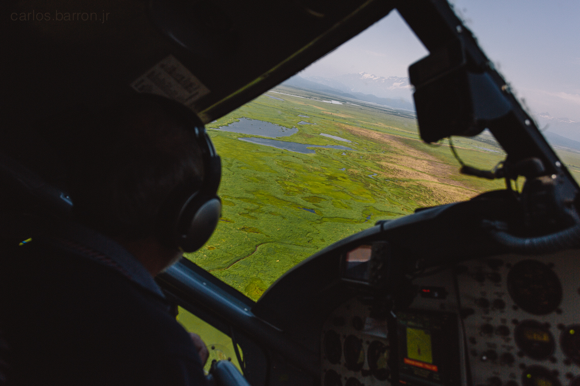 Flying on the Otter plane  from the Big River Lakes to Kenai, AK.