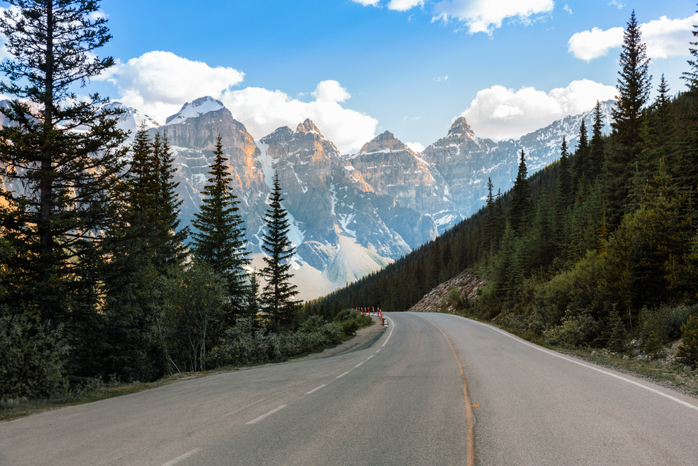 Road to Moraine Lake, Alberta, Canada