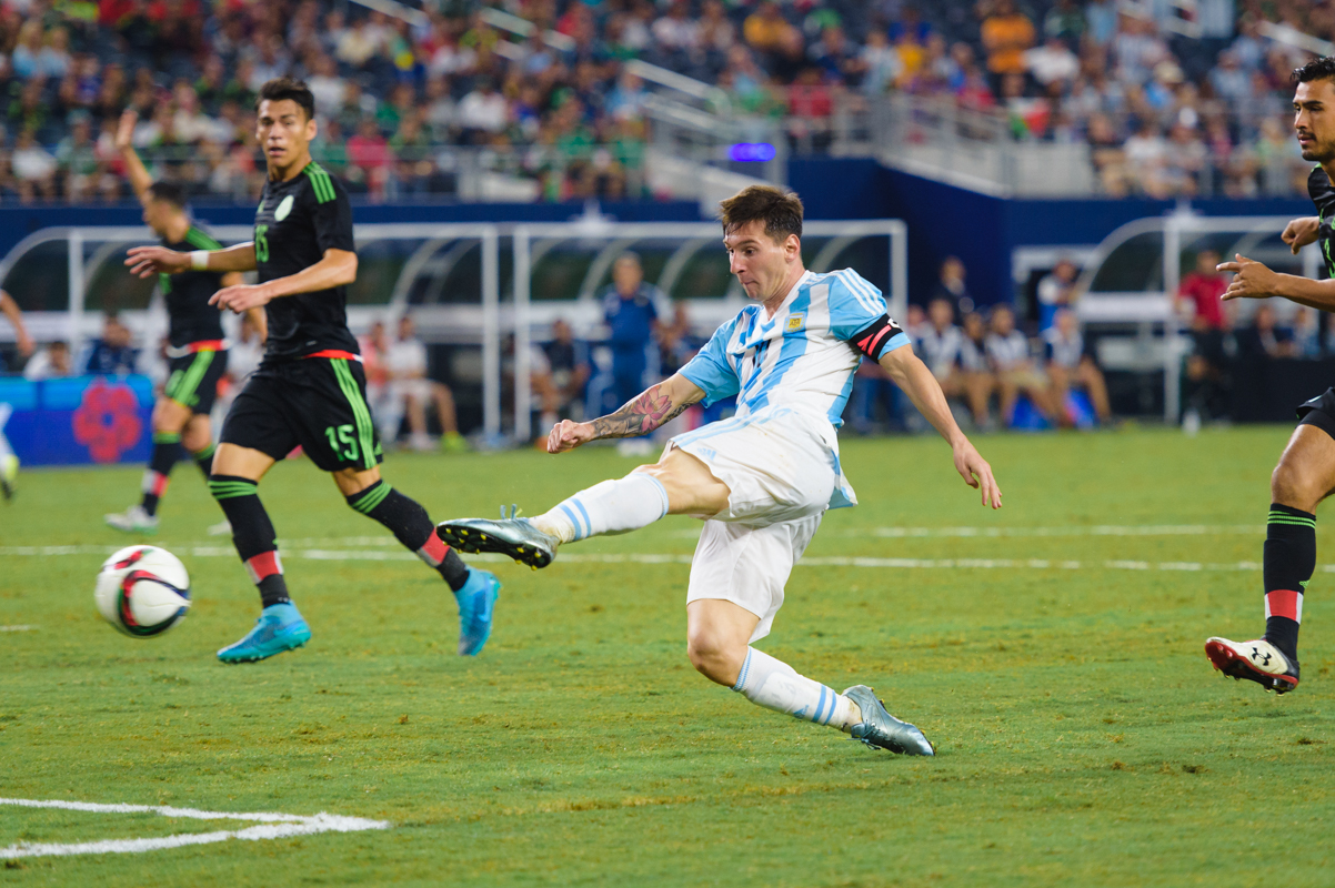Lionel Messi with the equalizing goal against Mexico in the last few minutes of the game.