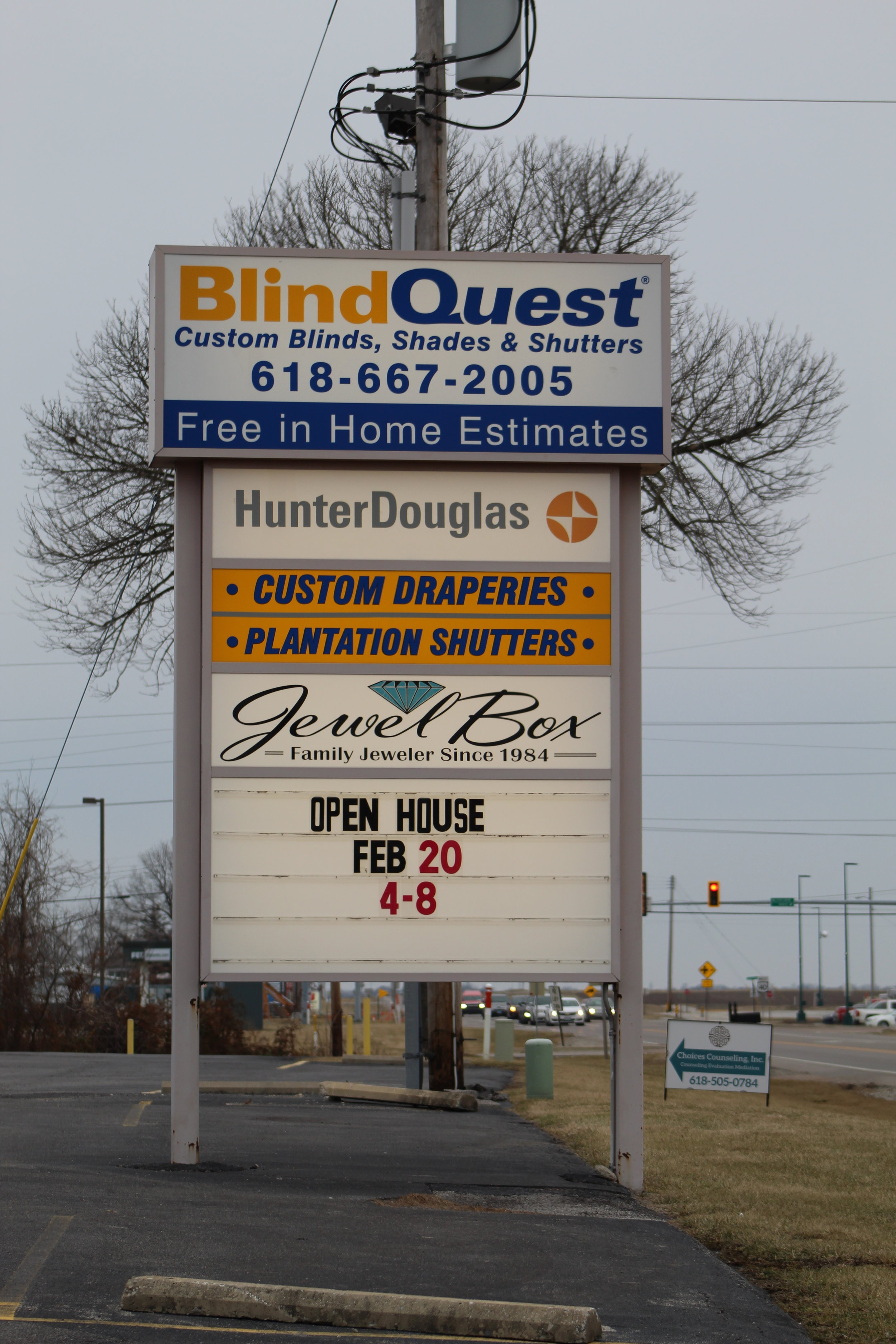 Blind Quest Sign In Front of Troy Office