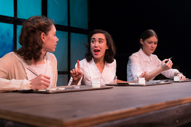 Erin Eva Butcher, Kathleen Lewis, and Kristen Heider in   RADIUM GIRLS   by D.W. Gregory, directed by Lindsay Eagle. September 4-9, 2015. Produced by Flat Earth Theatre. Photo by Jake Scaltreto.