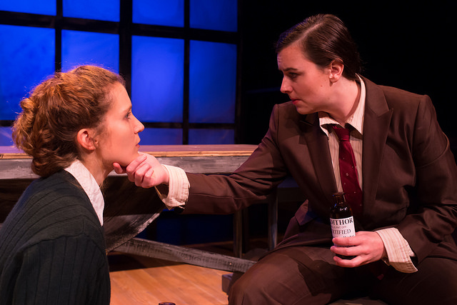 Marty Mason and Bridgette Hayes in   RADIUM GIRLS   by D.W. Gregory, directed by Lindsay Eagle. September 4-9, 2015. Produced by Flat Earth Theatre. Photo by Jake Scaltreto.