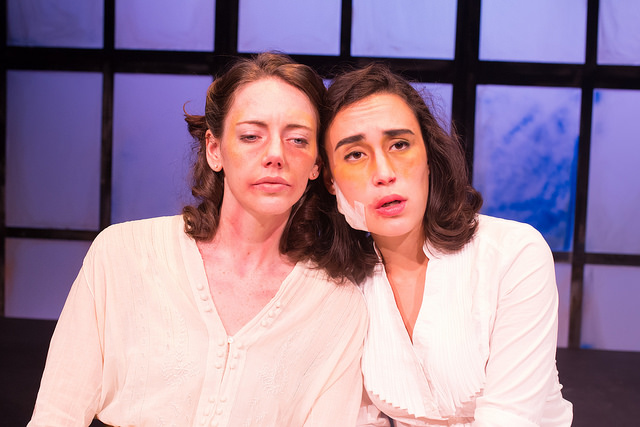 Erin Eva Butcher and Kathleen Lewis in   RADIUM GIRLS   by D.W. Gregory, directed by Lindsay Eagle. September 4-9, 2015. Produced by Flat Earth Theatre. Photo by Jake Scaltreto.