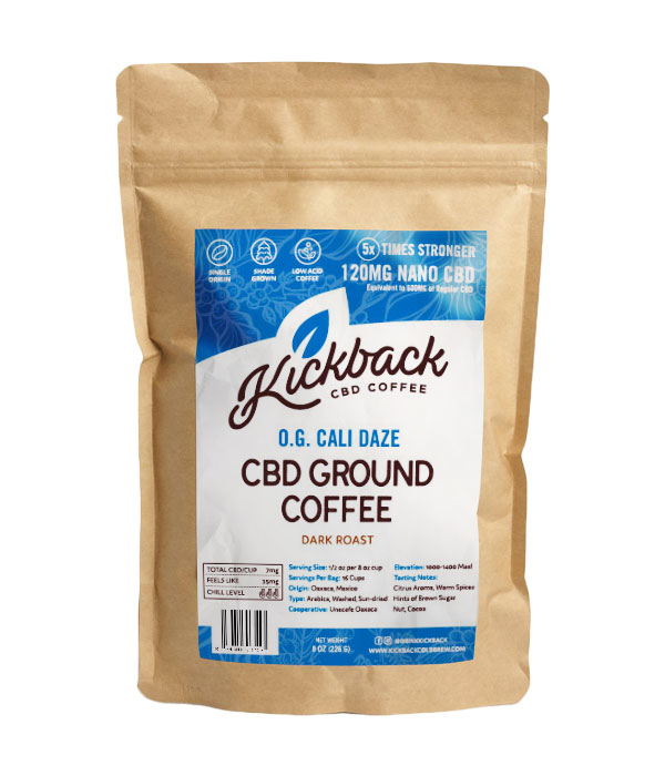 Kickback OG Cali-Daze CBD Ground Coffee ($26) - Does coffee ever get you feeling a little anxious? Start your day with this CBD coffee! This low acidity dark roast has undertones of brown sugar, nut, cocoa, citrus, and spice. With 120 MG of active CBD per bag, you'll be feeling relaxed before you get down to business.