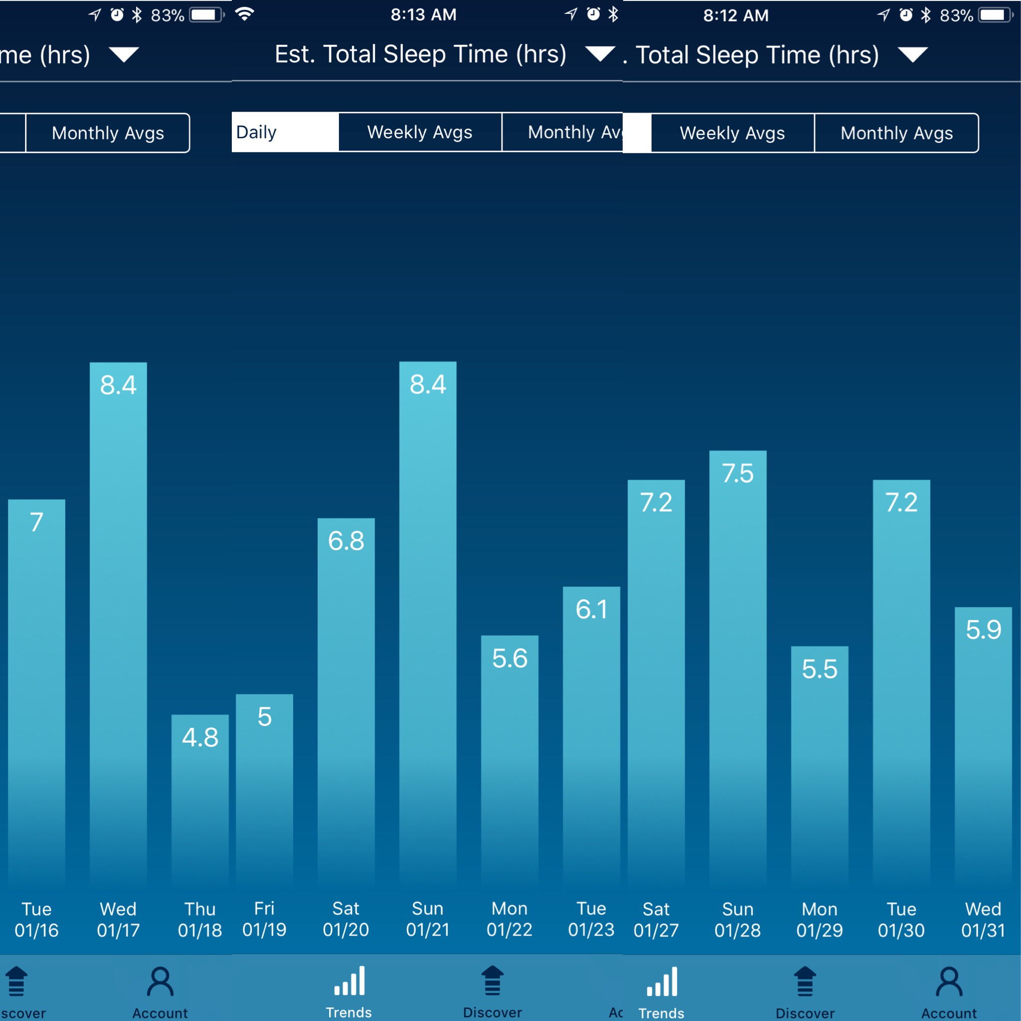 Sleep Watch app, available in App Store on iPhone. Couldn't crop picture to get the 24-26th in.