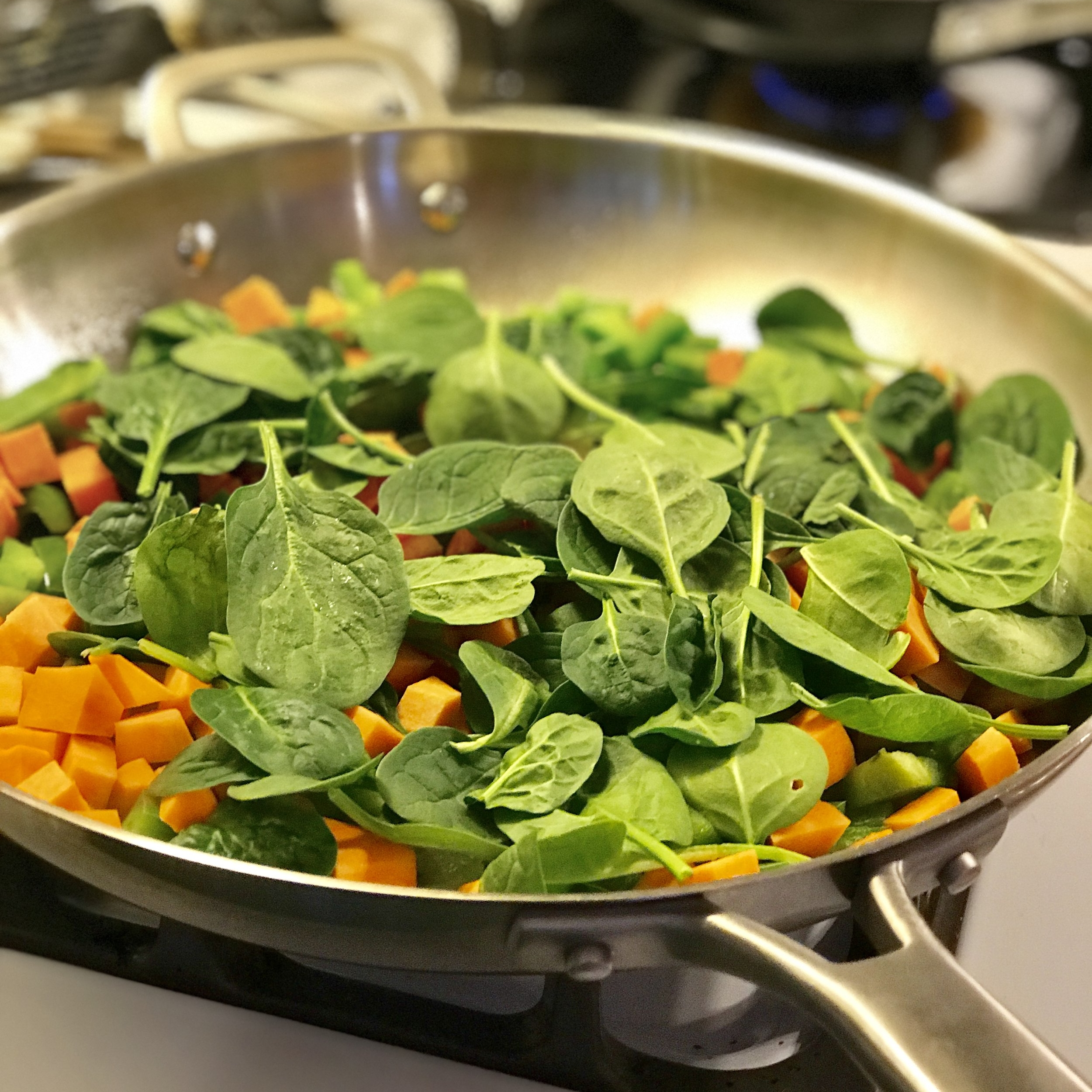 Green Pepper, Sweet Potato and Baby Spinach - sauté for a few minutes