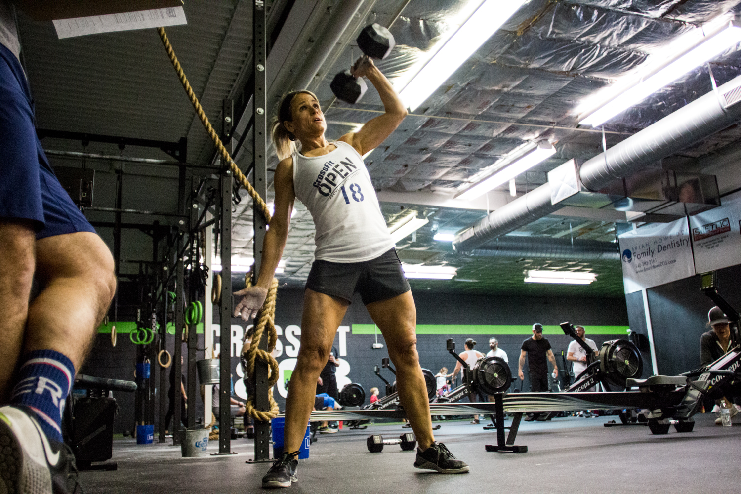 Patty Workman - arguably one of the most improved members of CrossFit 1808 from year-to-year. Just 3.5 years ago, Patty could not do a pull up (jumping pull ups is what she resorted to). 2018 marked the first Open for Patty where she completed every workout RX! She finished 449th in the world in her age division (50-54) and 32nd in the Central East Region.