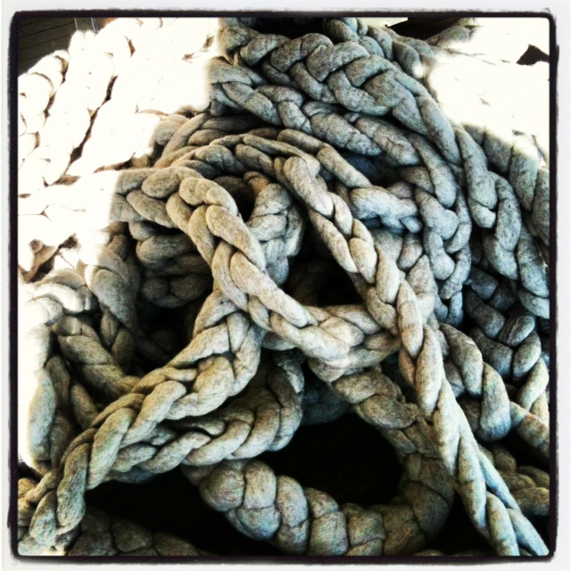 Felted wool chain in silver